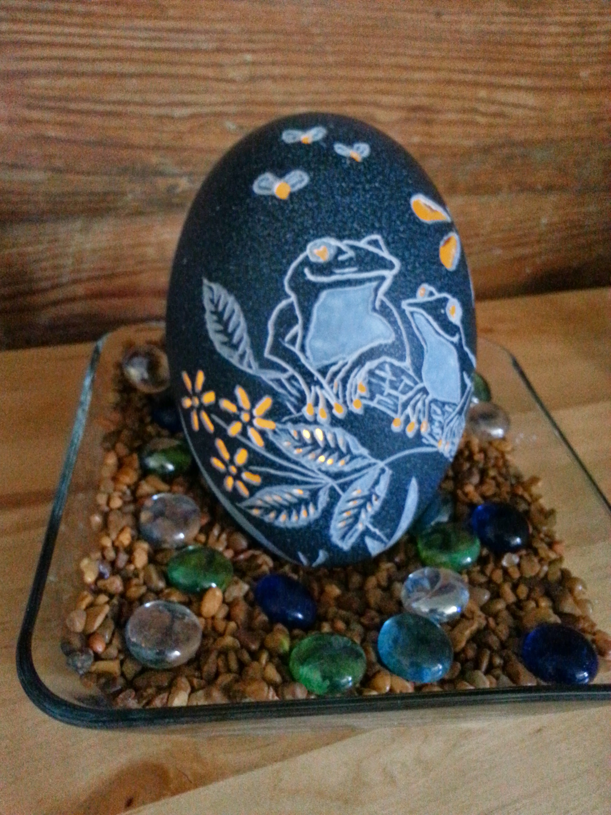 Carved Tree Frog Emu Egg w/light