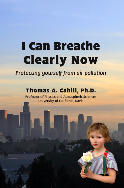 """I Can Breathe Clearly Now"" book cover, showing a little girl holding a flower, with a smoggy city skyline behind her"