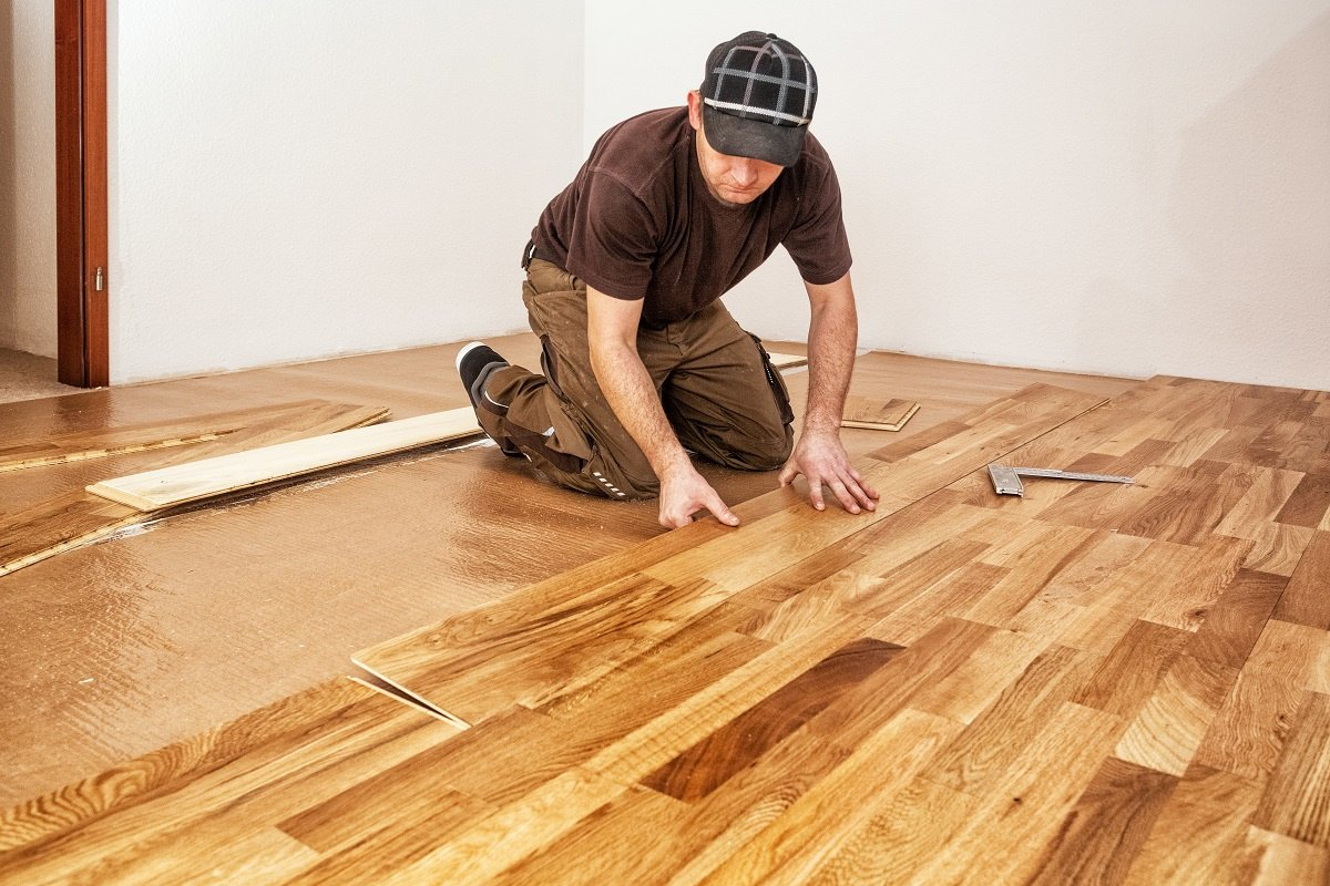 Engineered hardwood floor installation in Alpharetta