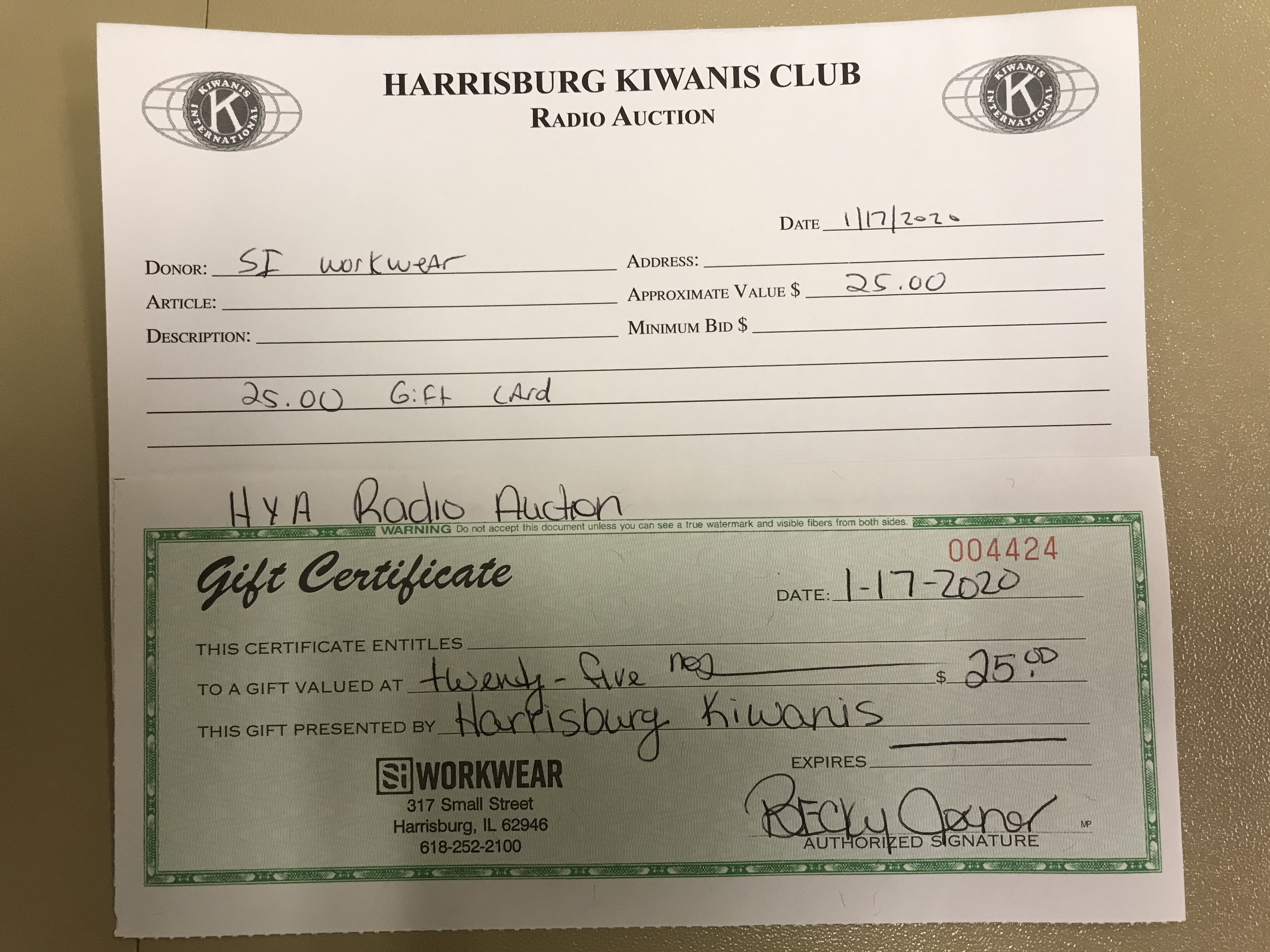 Item 327 - SI Workwear $25 Gift Certificate