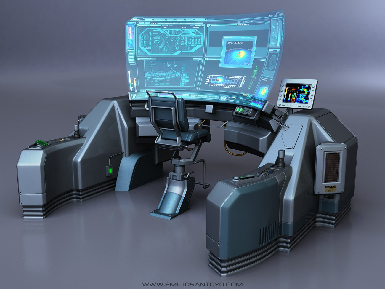 Sci-Fi Console with chair. Software used 3ds Max, and PhotoShop.