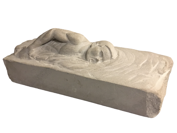 "The Swimmer stone carving 5"" X 12"" $150."