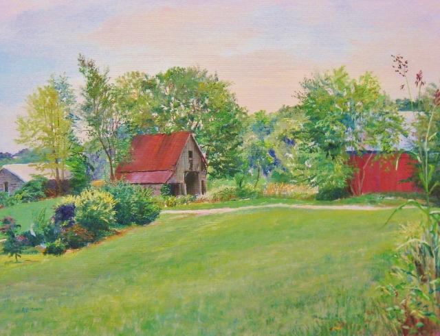 33. Farm Buildings, Howard County, West Friendship, 14x18  oil on canvas