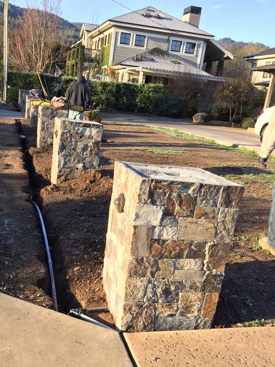 Stone columns (in progress). Santa Helena, CA