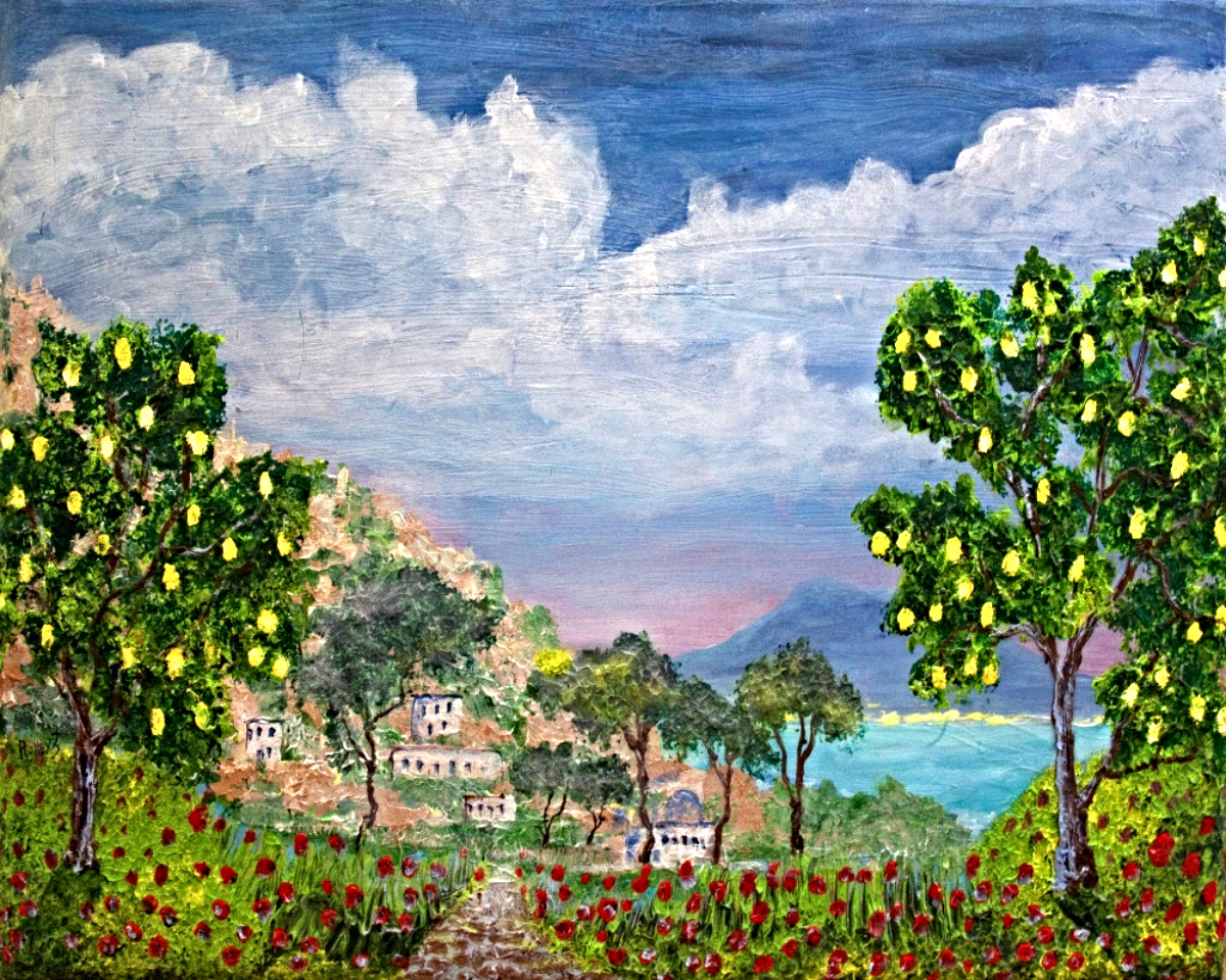 BEGINING OF AMALFI  the BAY of NAPLES  HIGHLIGHTED WITH GLOW IN DARK LUMINESCENT  PAINT    30x40    $800