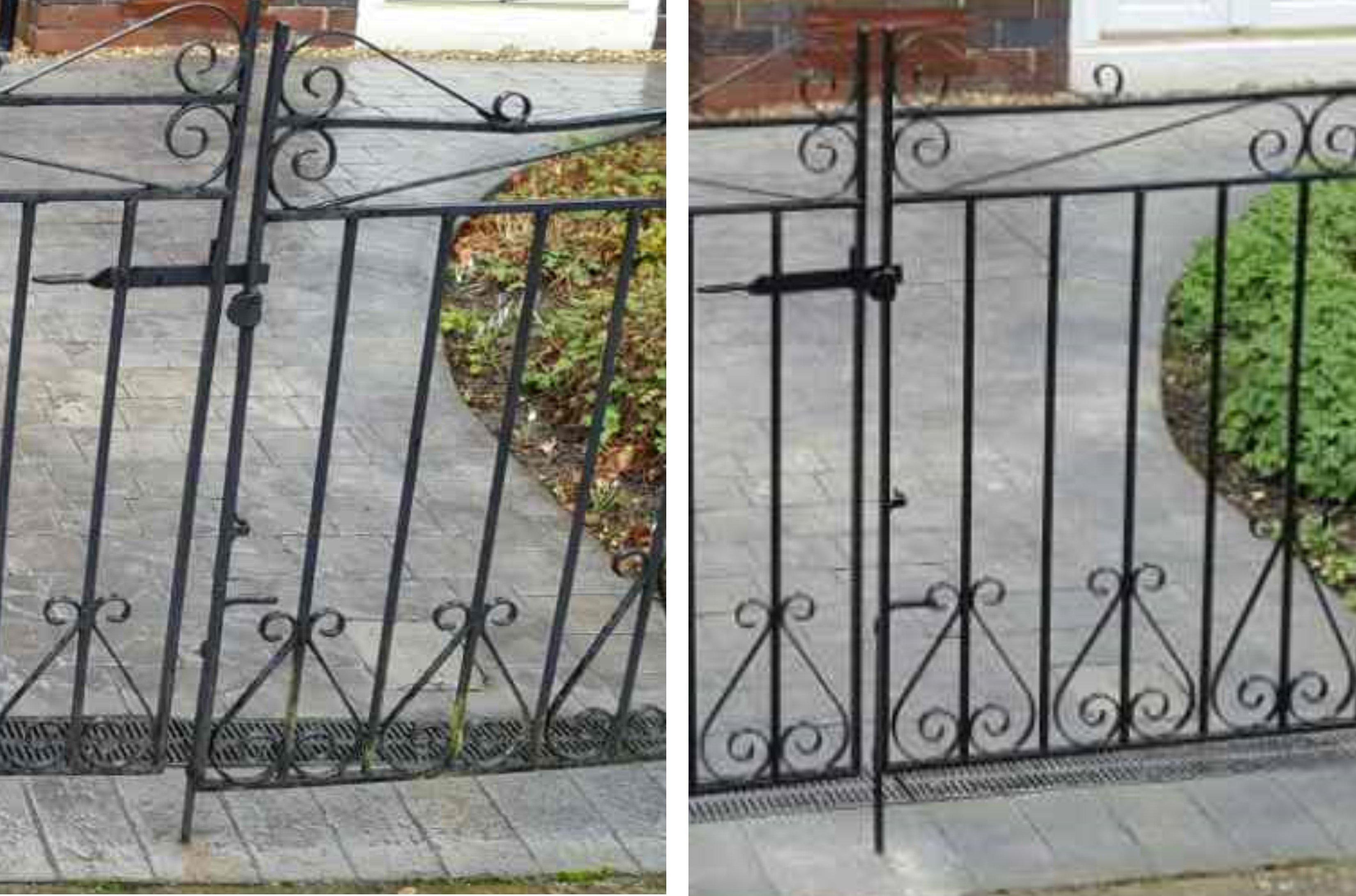 Gate restoration close up before & after