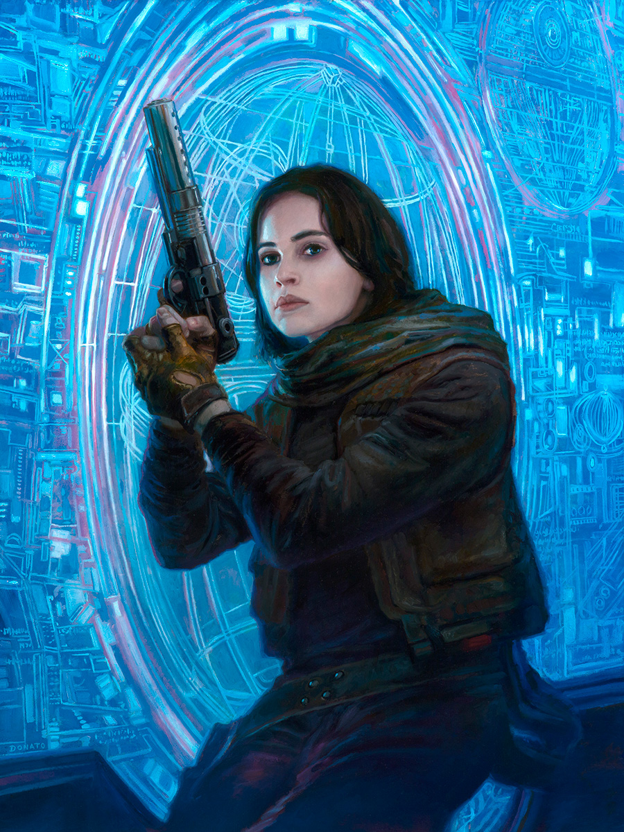 "Jyn Erso - Rogue One 24"" x 18""  Oil on Panel 2016 limited edition print commission"