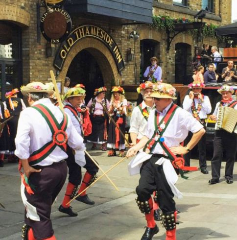 Merrydowners dancing outside the Old Thameside Inn London