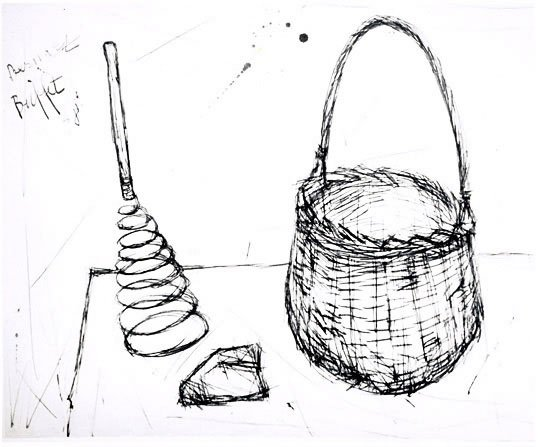 Basket, Whip, and Bread on Table