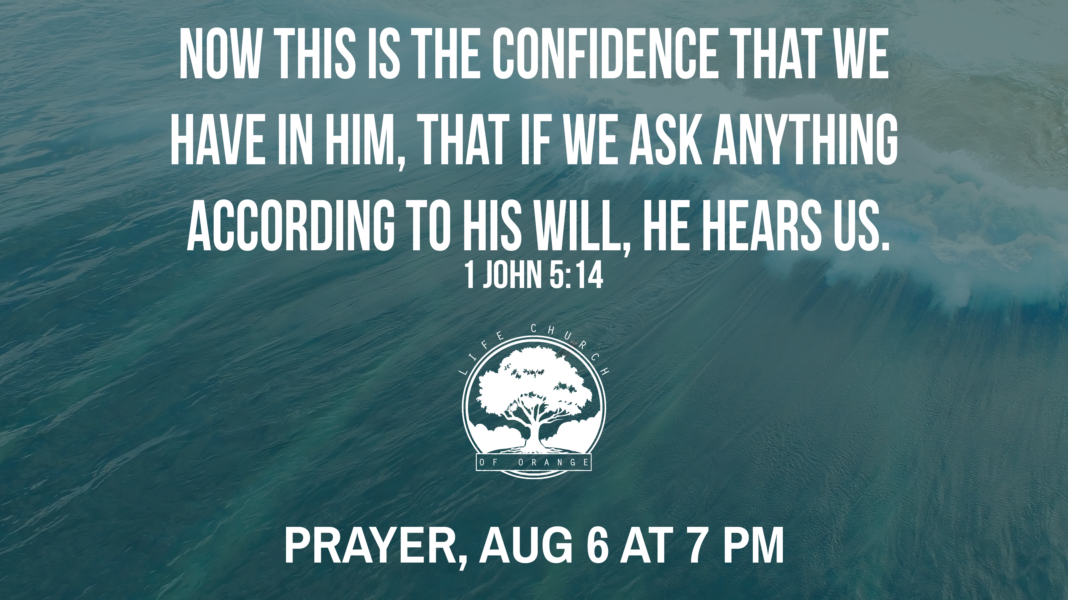 We invite you to join us Tuesday, Aug 6 and Aug 20, at 7 PM for corporate prayer.