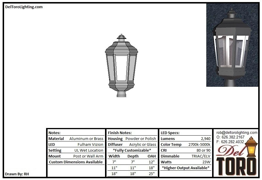 215L - Hex Lantern Post Mount