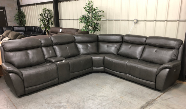 Leather Power Recline Sectional 2190