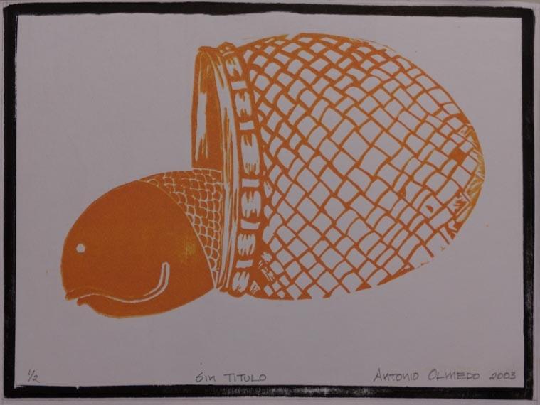 La pesca II, 2003 Grabado en madera sobre papel  34 x 30 cm