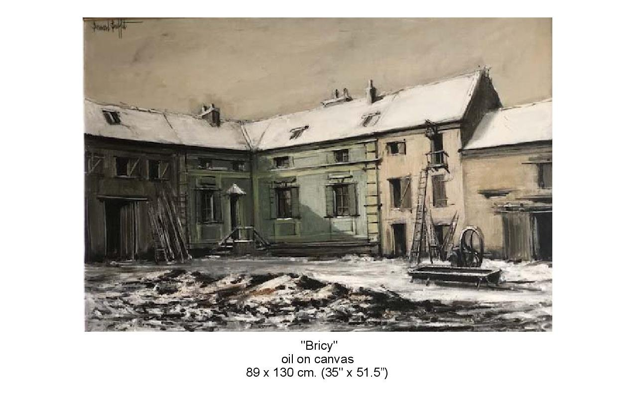 Painting of Bricy,  oil on canvas. Big house with sheds attached