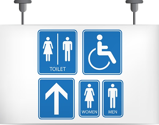 Toilet Sign Set,