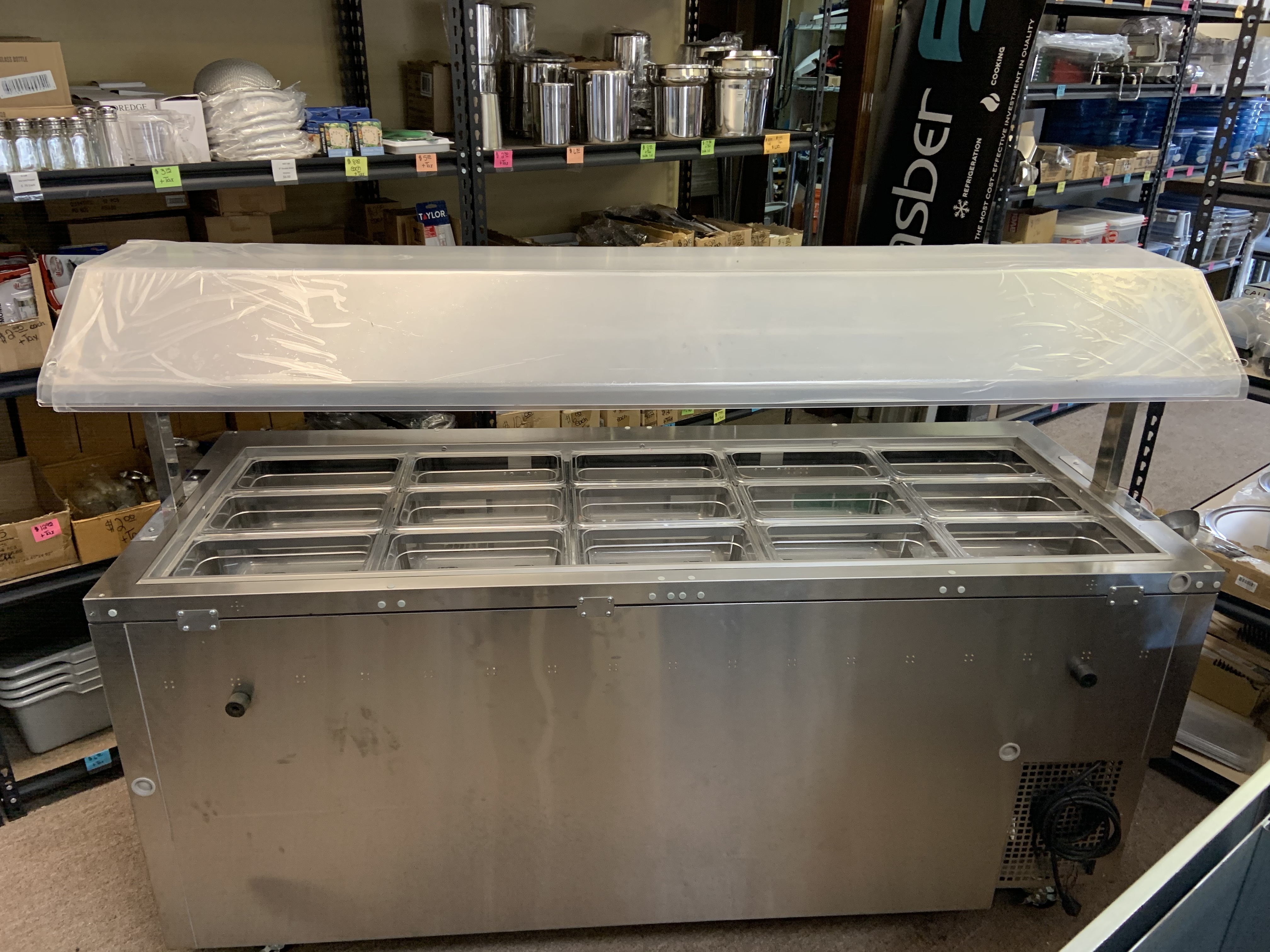 Like New Turbo Air Refrigerated Buffet Display Table with Sneeze Guard  $ 3000.00