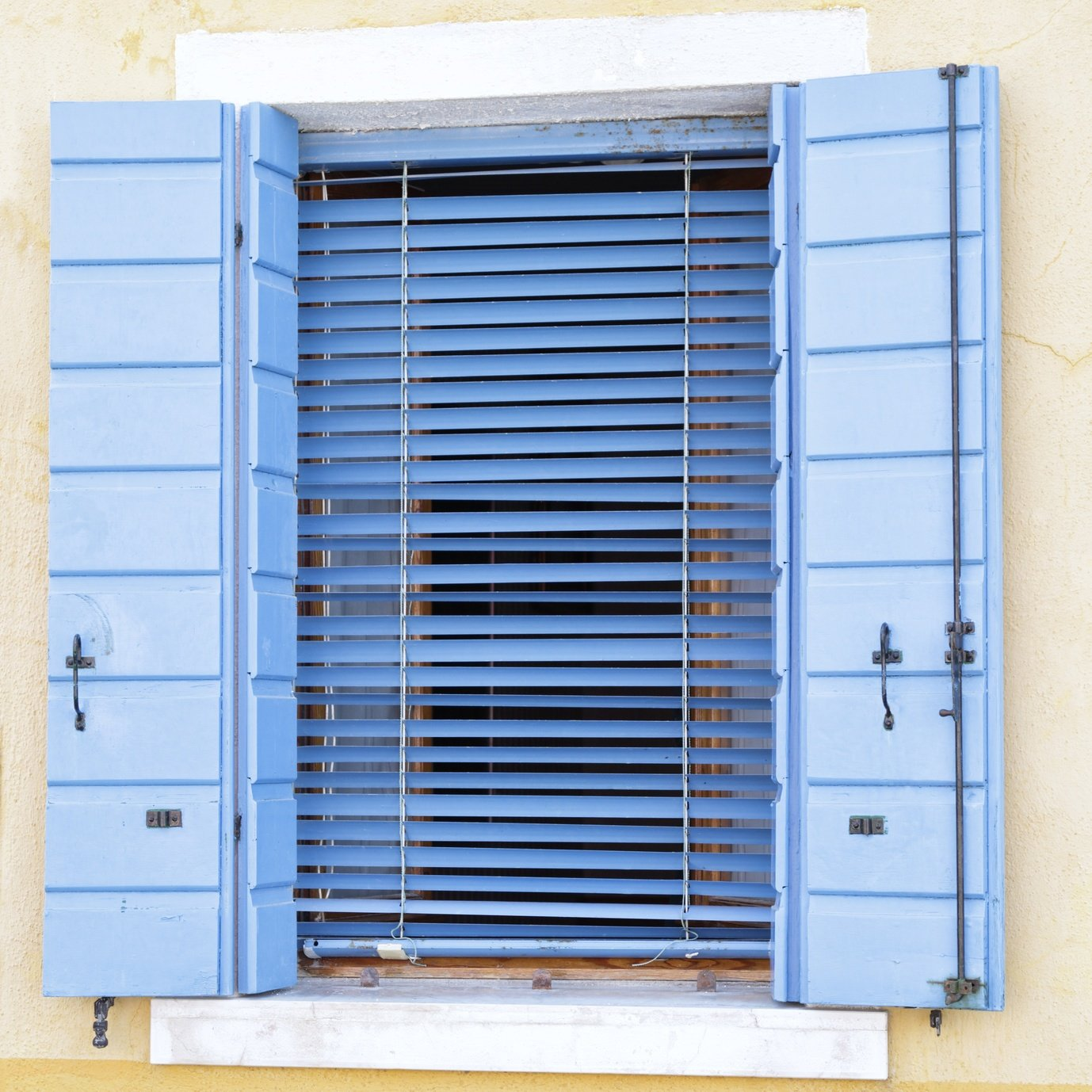 Blue and White Window and Shutters