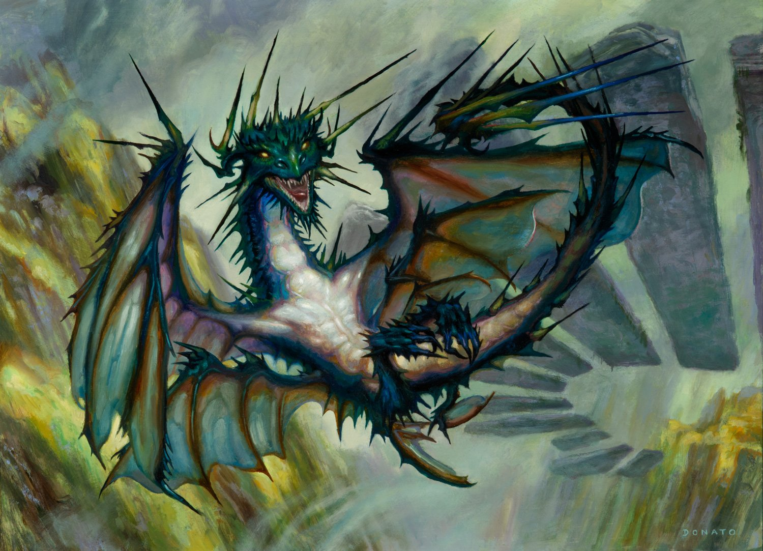 """Needlethorn Drake Strixhaven 13"""" x 18""""  Oil on Panel private collection"""
