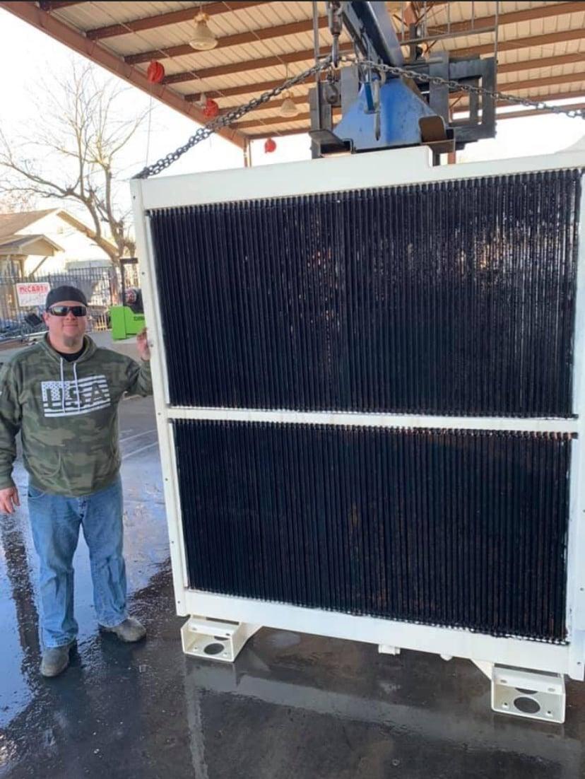 Large radiator with guy