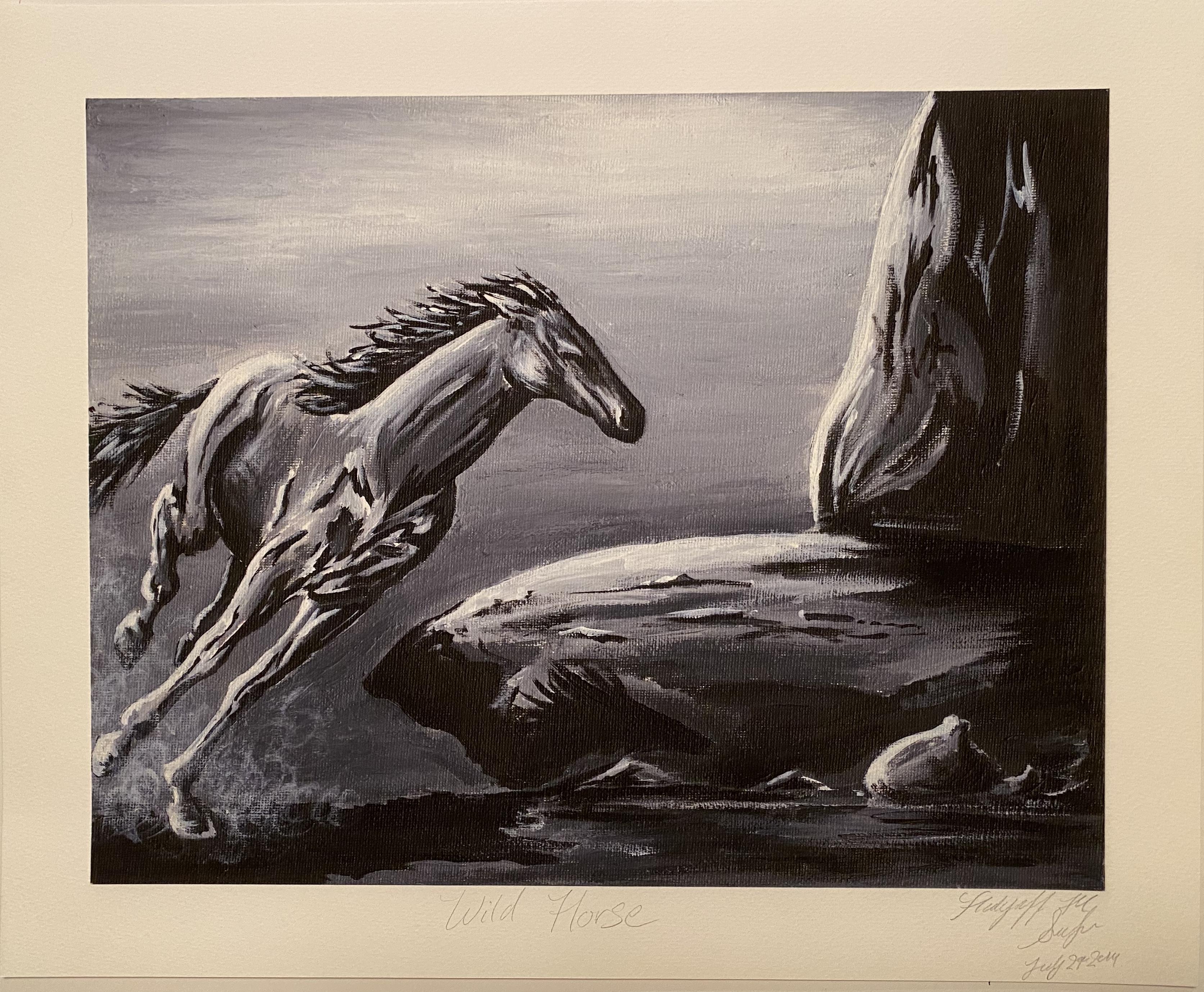 """Wild Horse gicilee 14"""" X 11"""" $20."""