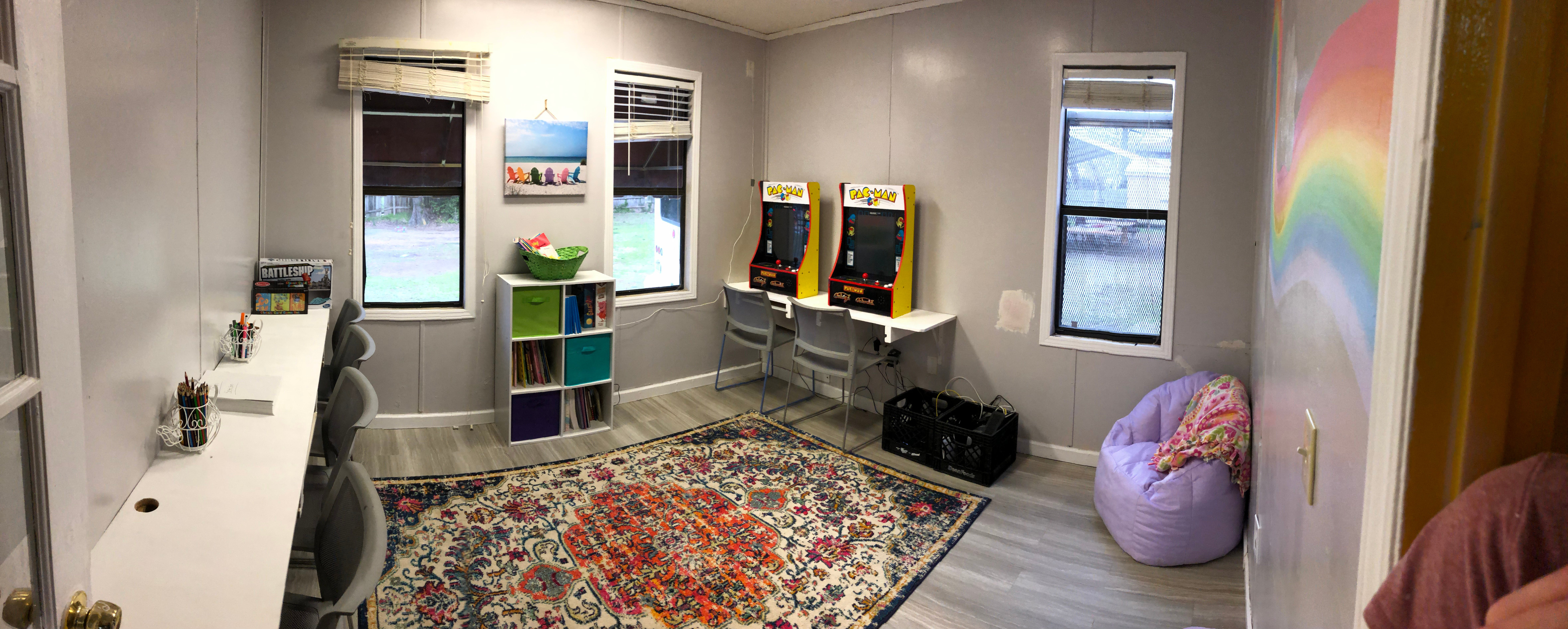 The kids' hangout room! (newly renovated by volunteers from Hutchison School)