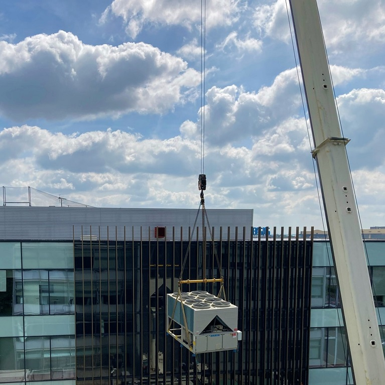 Installing  this new rooftop air conditioning chiller at Heathrow this week