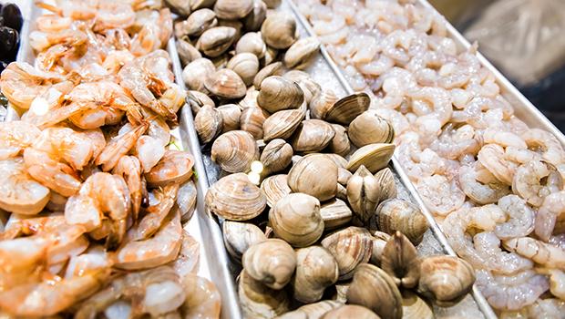 Raw Green Clams Shells Shrimp Crustacean Prawns
