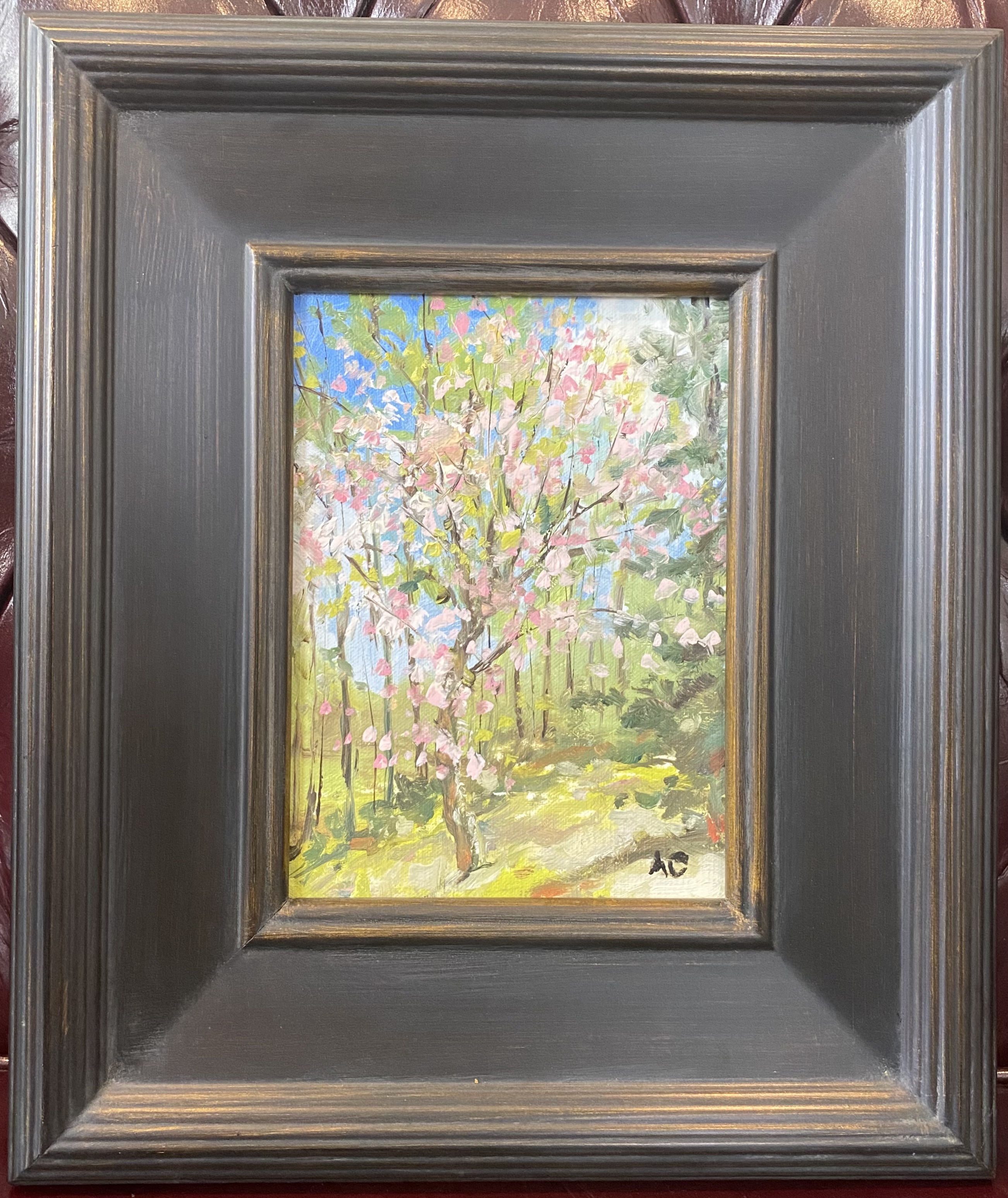 """Pink Dogwood  (Our Lady of the Snows, Belleville) Oil 6"""" X 8"""" $95."""