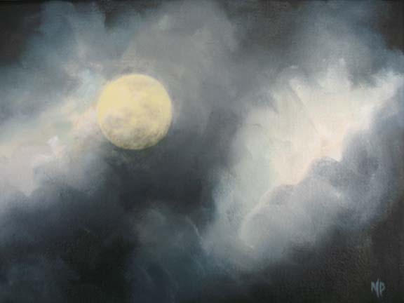 """Full Moon 2 - 6""""x8""""  Oil on Canvas - SOLD"""