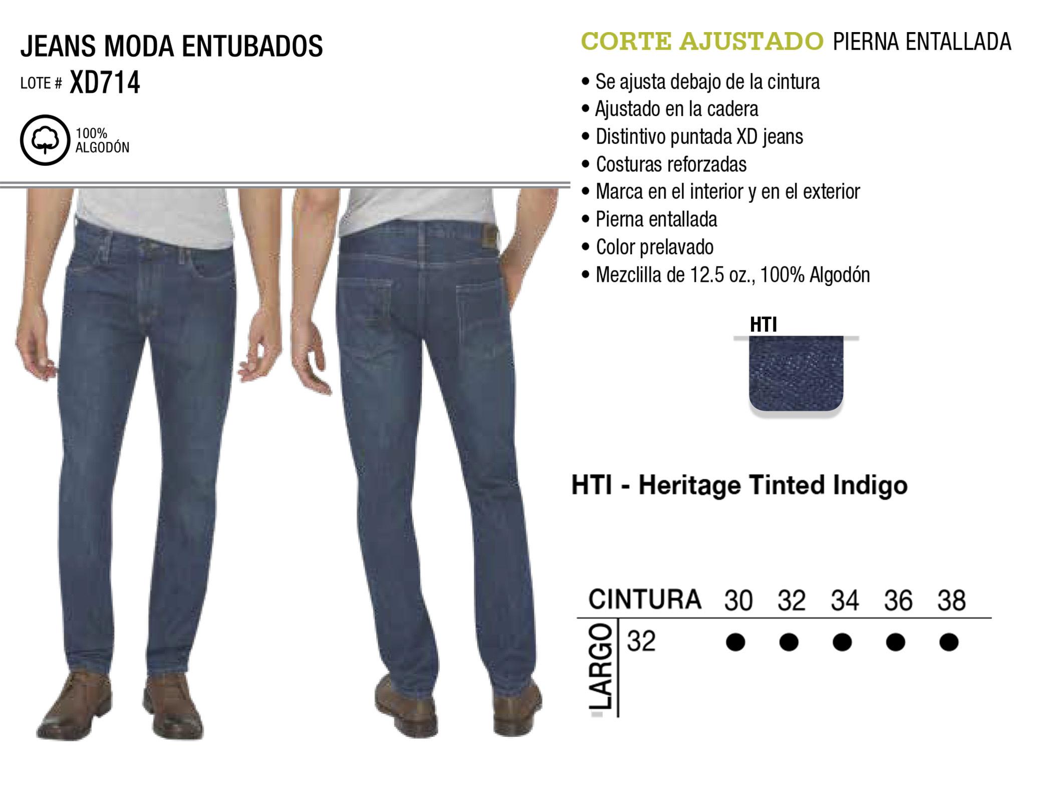 Jeans Moda Entubados. Corte Ajustado. XD714.
