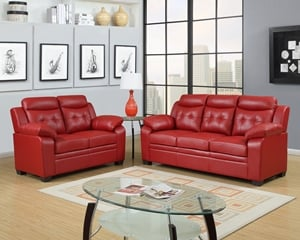 8800 Red Sofa, Love Seat