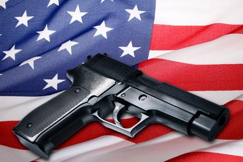 Gun On USA Flag