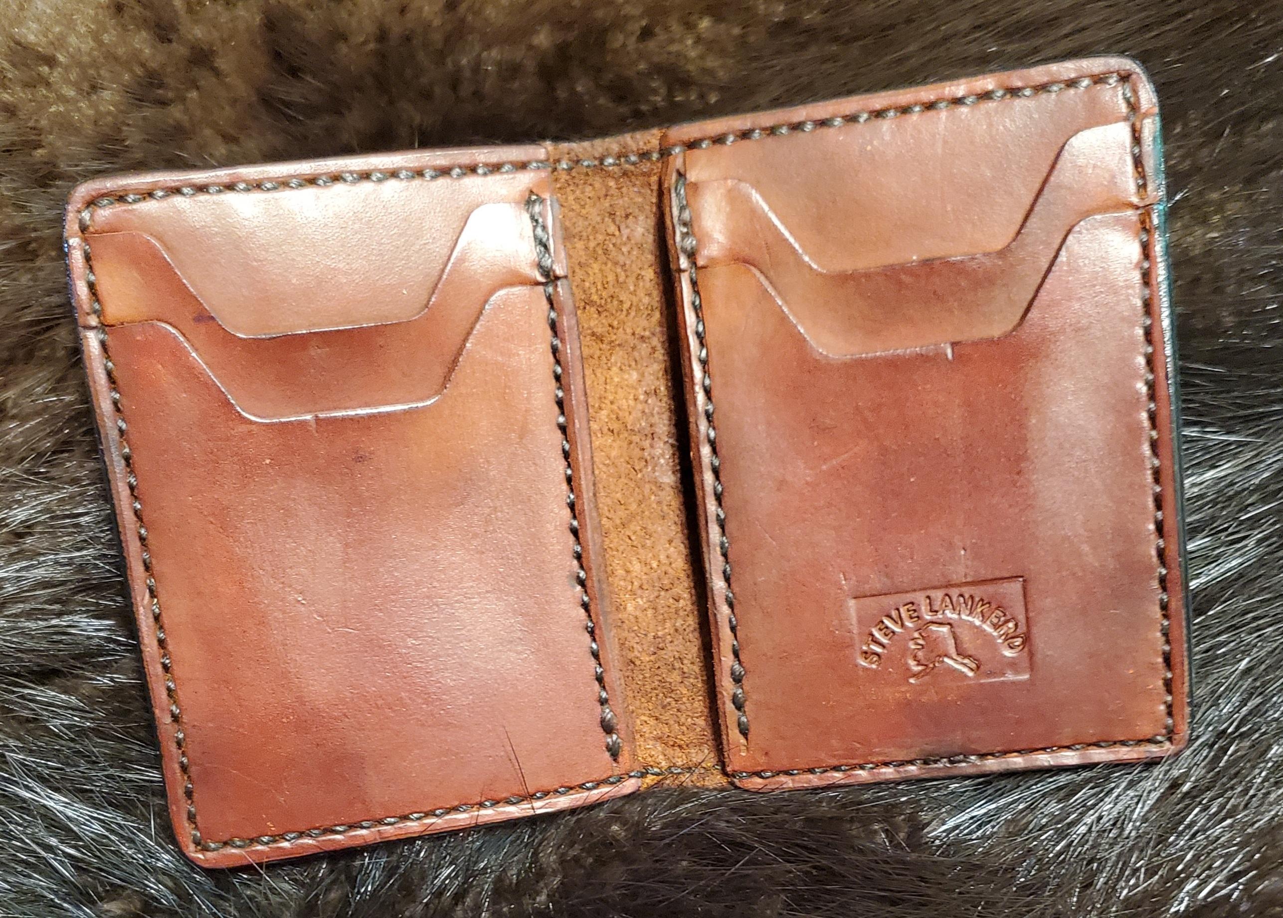 (Inside) 4 pocket Minimalist Wallet, hand stitched...   $75.00