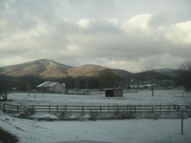 A view of the mountains as traveling though the valley to the farm.