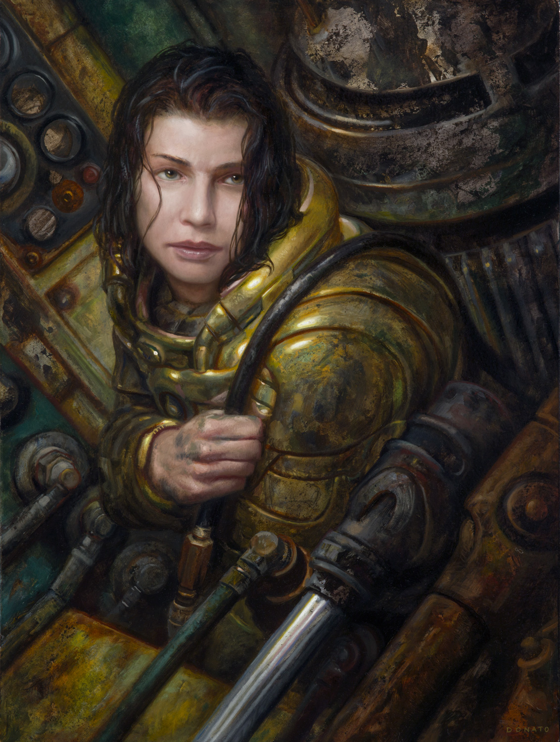 "The Mechanic - Thresholds 24"" x 18""  Oil on Panel  2019 collection of Lizanne and Paul Lizotte"