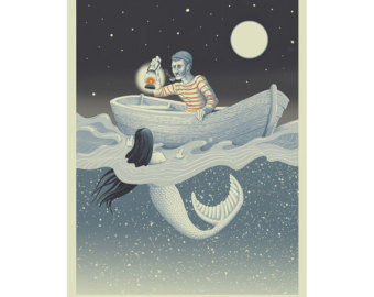 "The Sailor & the Mermaid Silkscreen 18"" X 24"" $90."