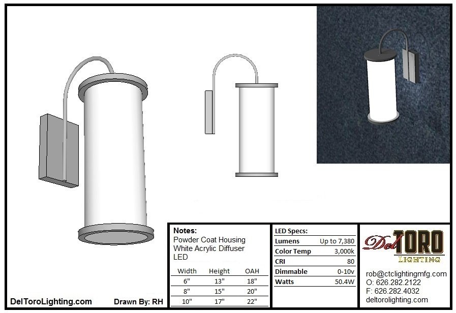520W-Cylinder Arm Sconce