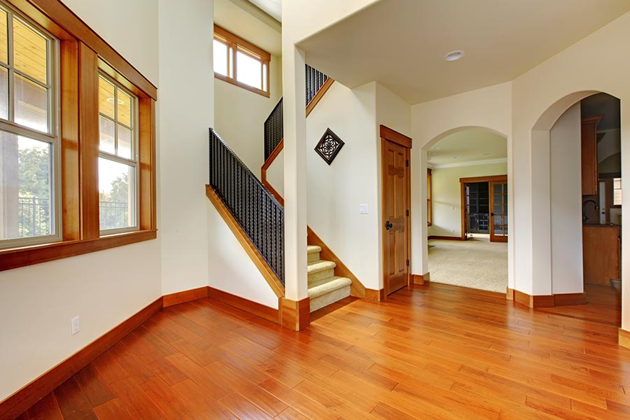 Home entrance with wood floor