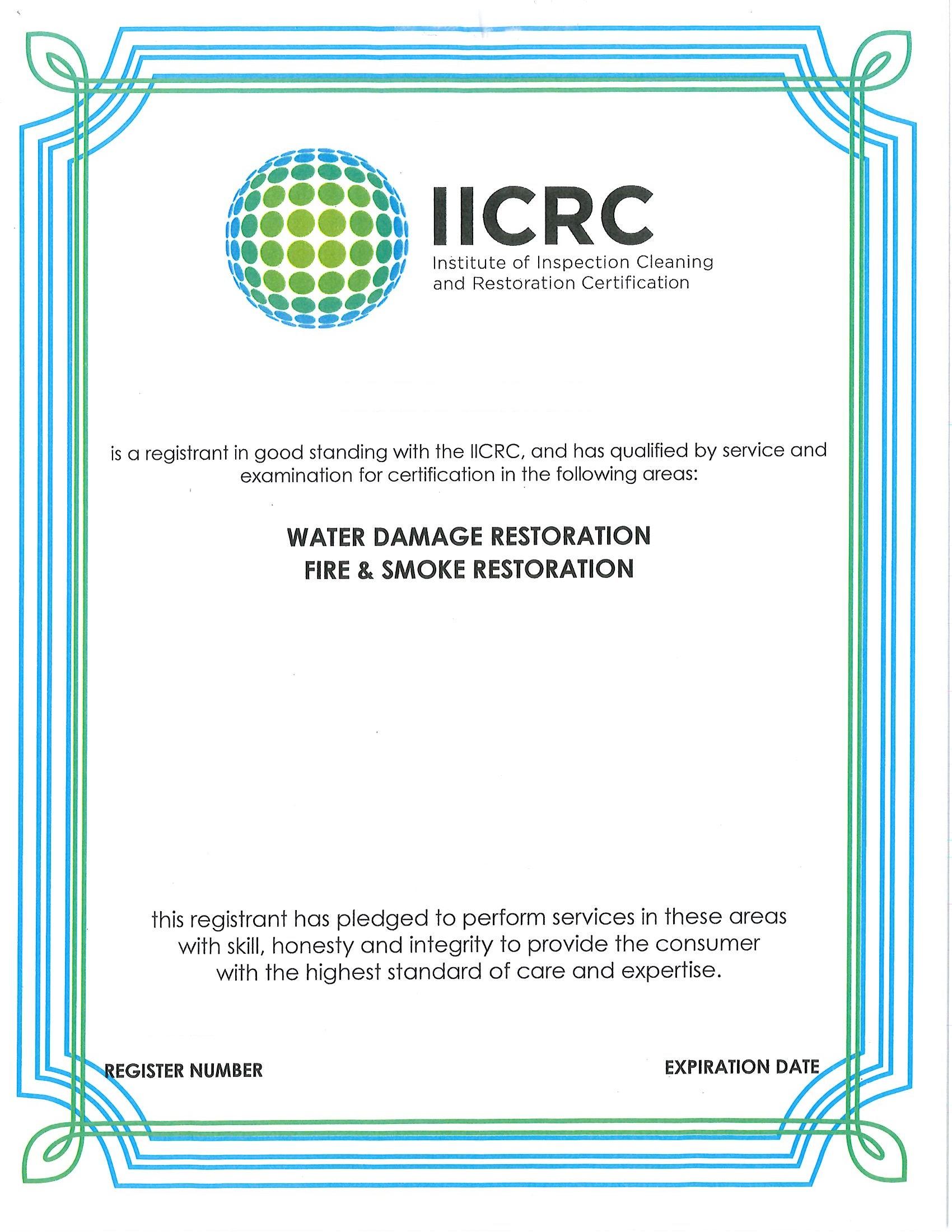 IICRC Certificate 3
