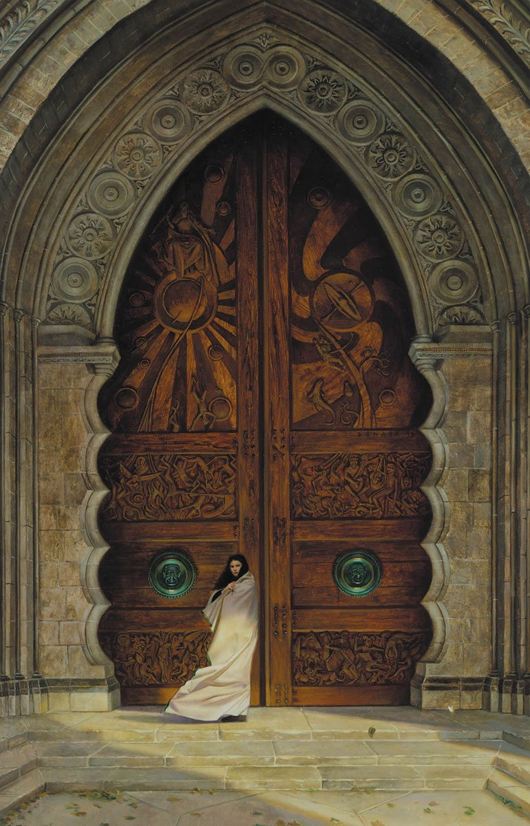 "Obernewtyn 27"" x 16""  Oil on Panel 1998 Cover of the novel by Isobelle Carmody"