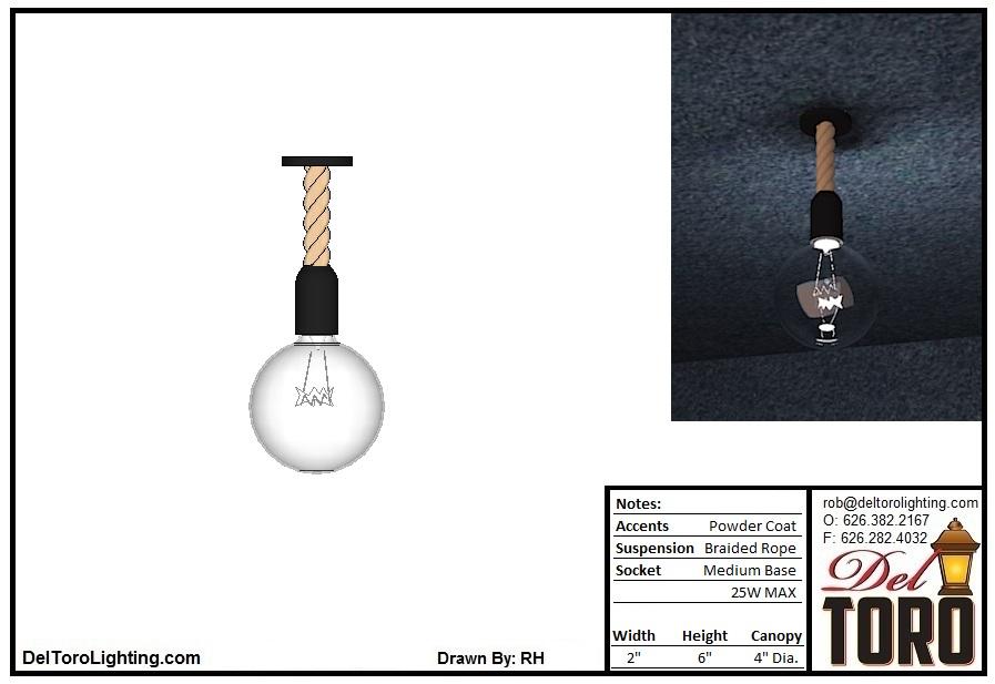 711P-Rope Hung Globe Pendant