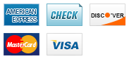 We accept American Express, Check, Discover, MasterCard and Visa.