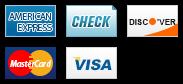 We accept American Express, Check, Discover, MasterCard and Visa.