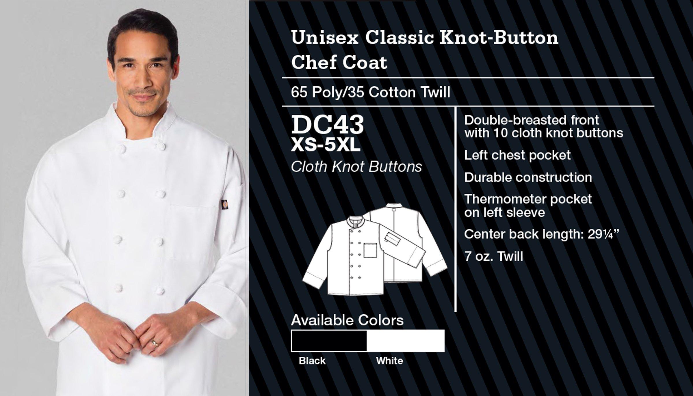 Abrigo de Chef Clásico Unisex, Botón de nudo. DC43.
