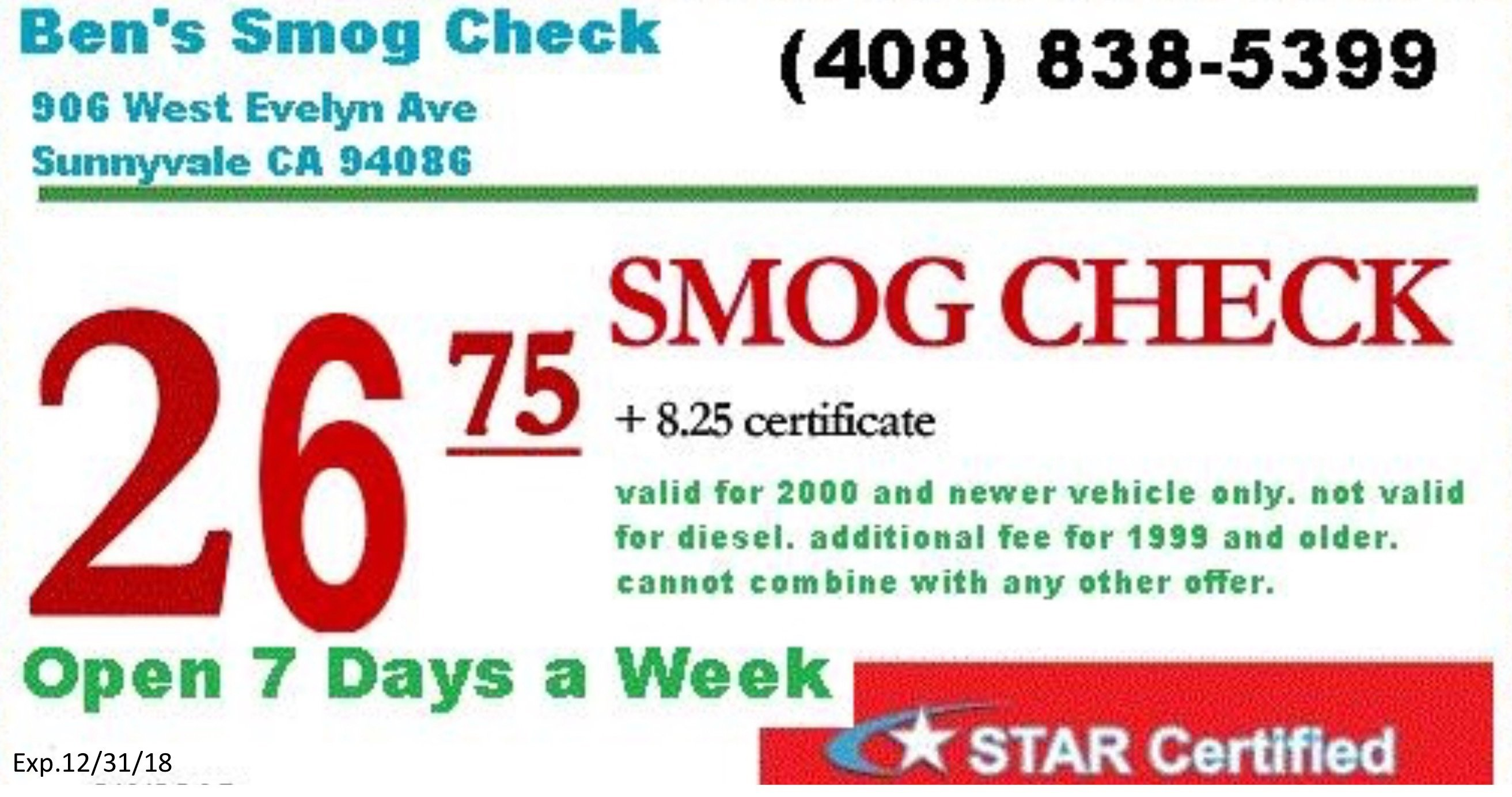 Redeem at Ben's Smog Check