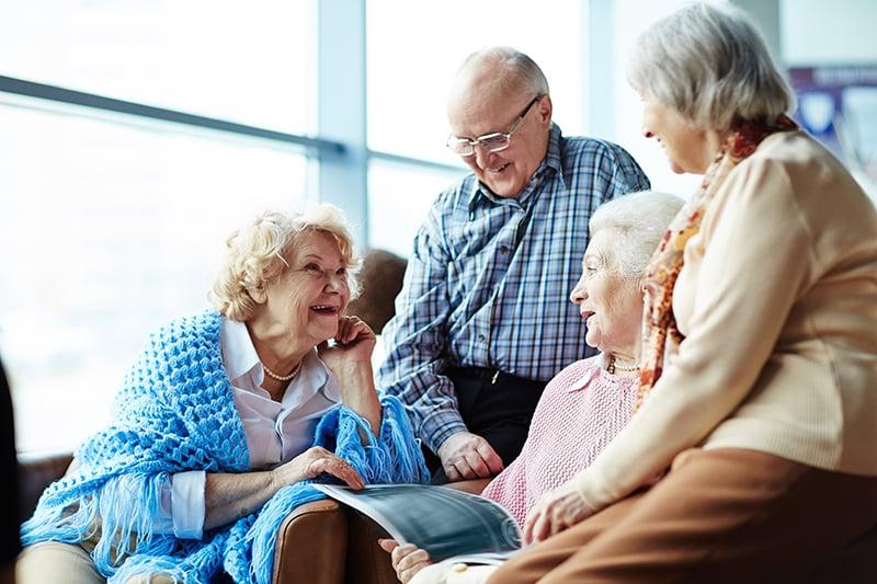 Senior people talking together