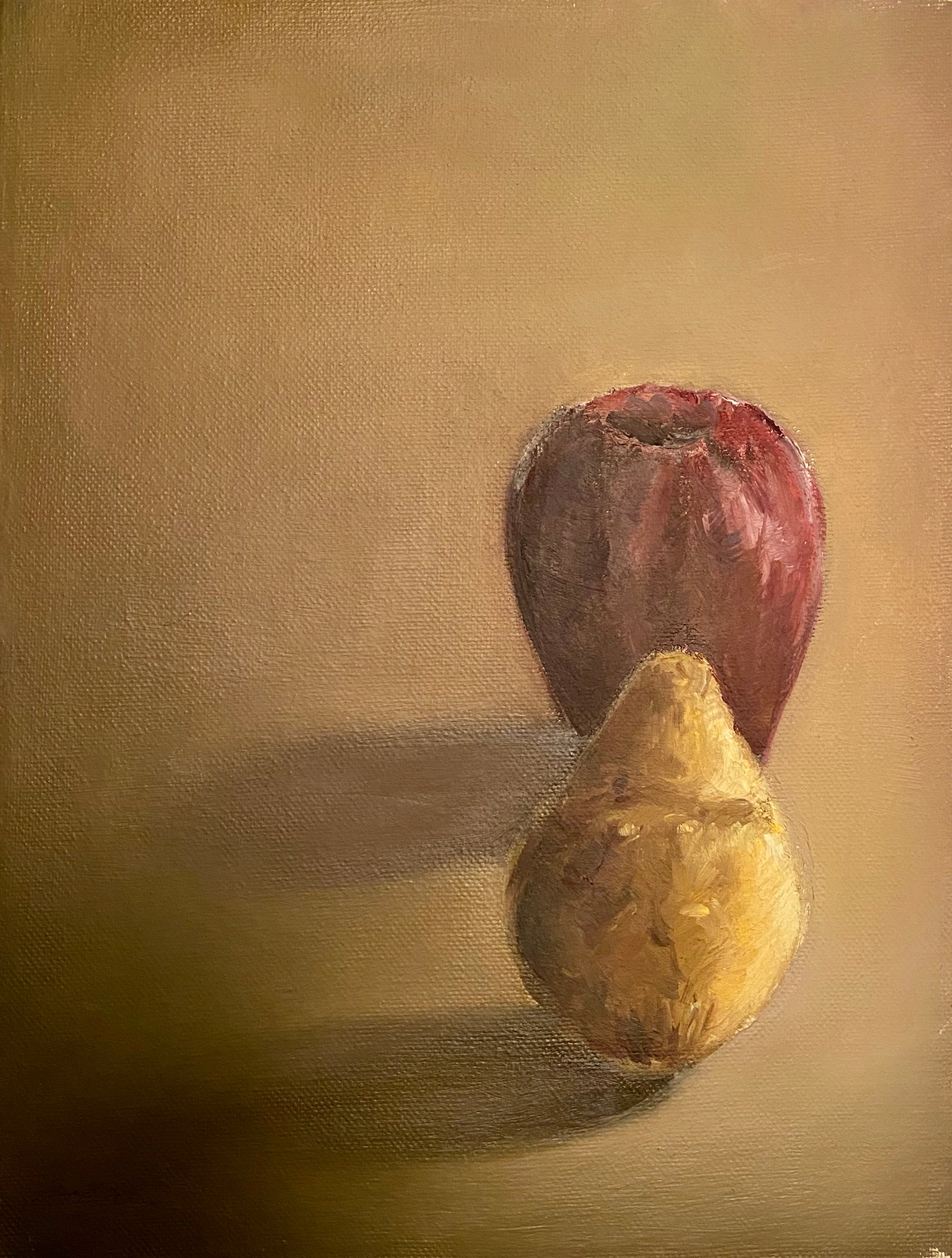 "An Apple and a Pear oil 9"" X 12"" $45."