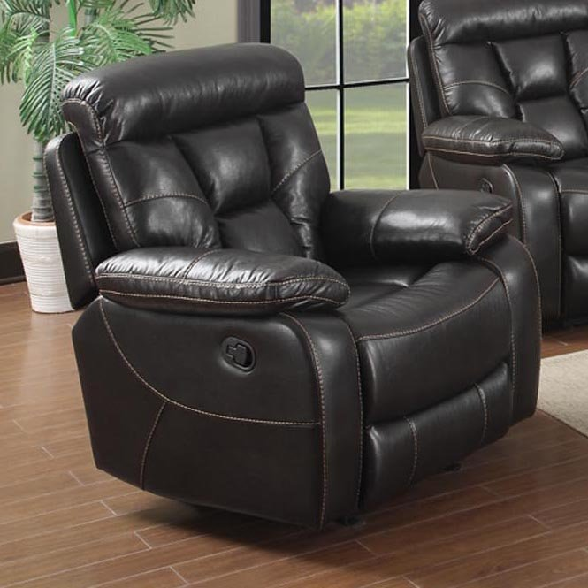 Black Faux Leather Recliner