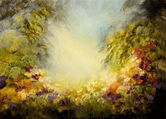 """A Garden In Eden - 5""""x7"""" Oil on Stretched Canvas  SOLD Greeting Card Available"""