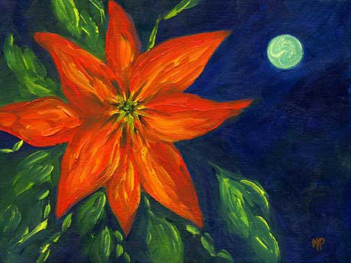 """Blue Moon - 6"""" x 8"""" Oil on Stretched Canvas SOLD"""